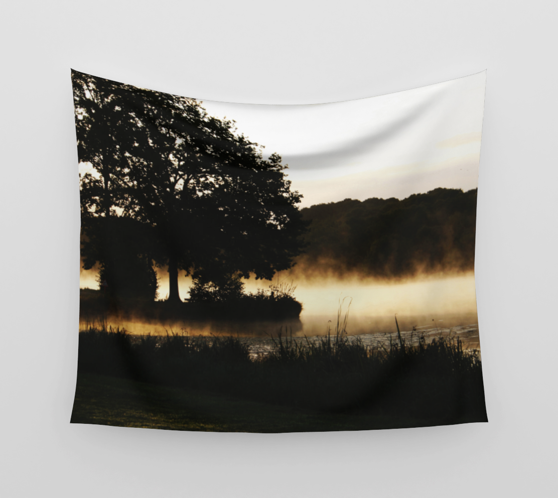 Morning Lake Scene Wall Tapestry preview