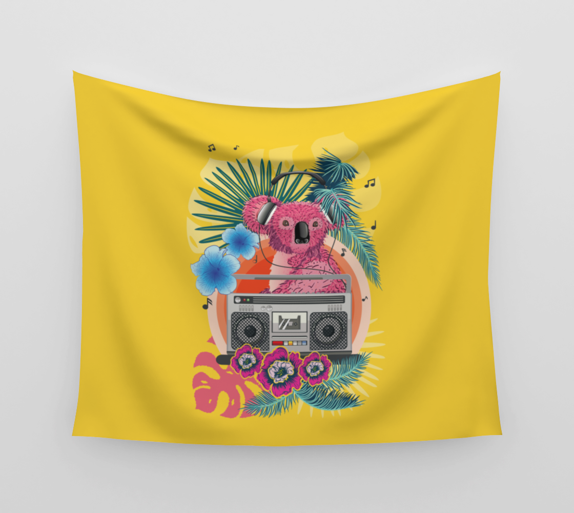 Pink koala with boombox and tropical leaves design  preview