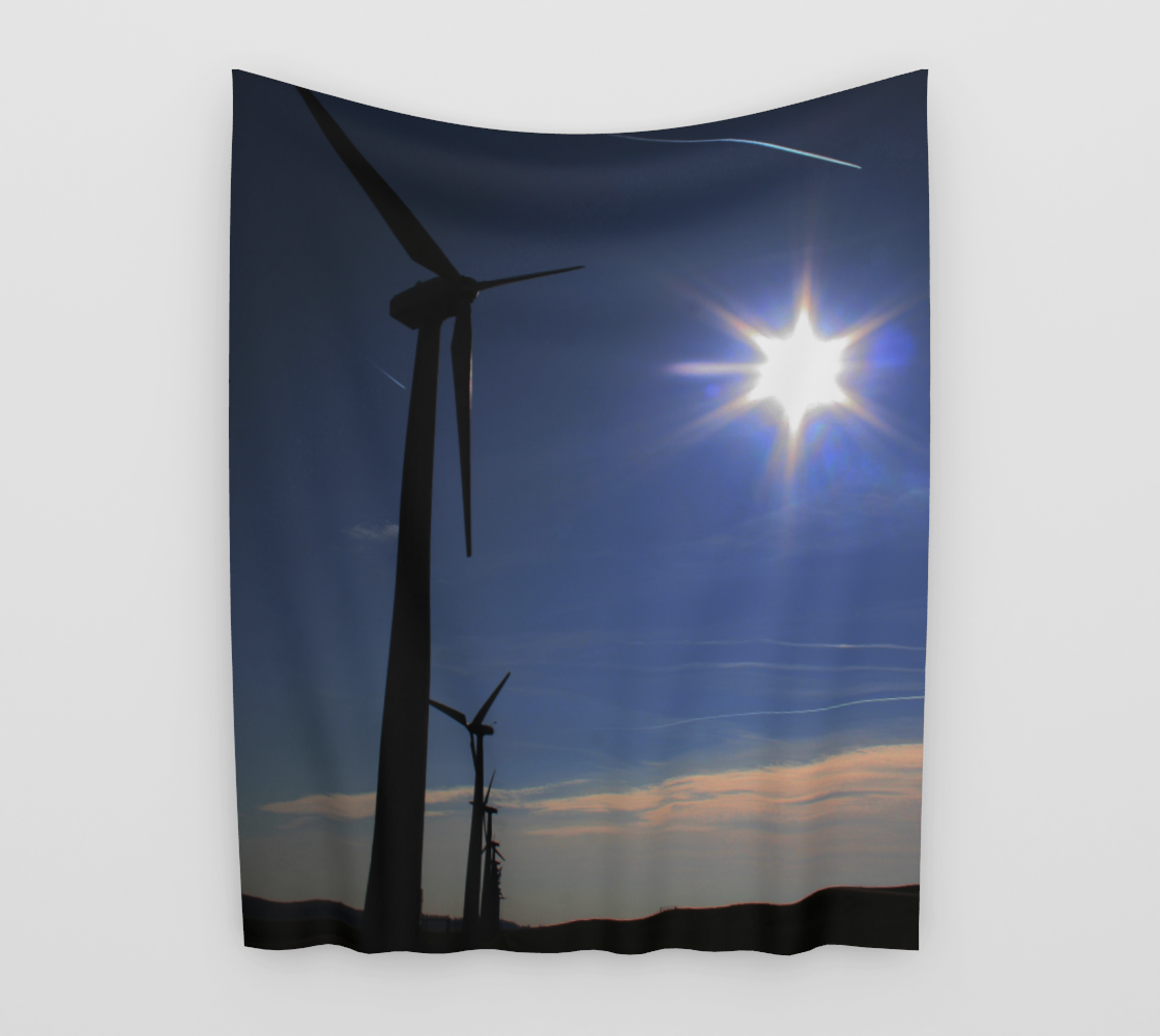 Windfarm and Blue Sky Wall Tapestry preview