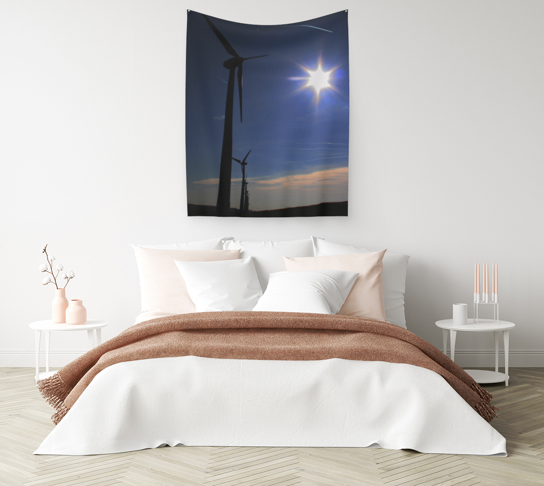 Windfarm and Blue Sky Wall Tapestry preview #1