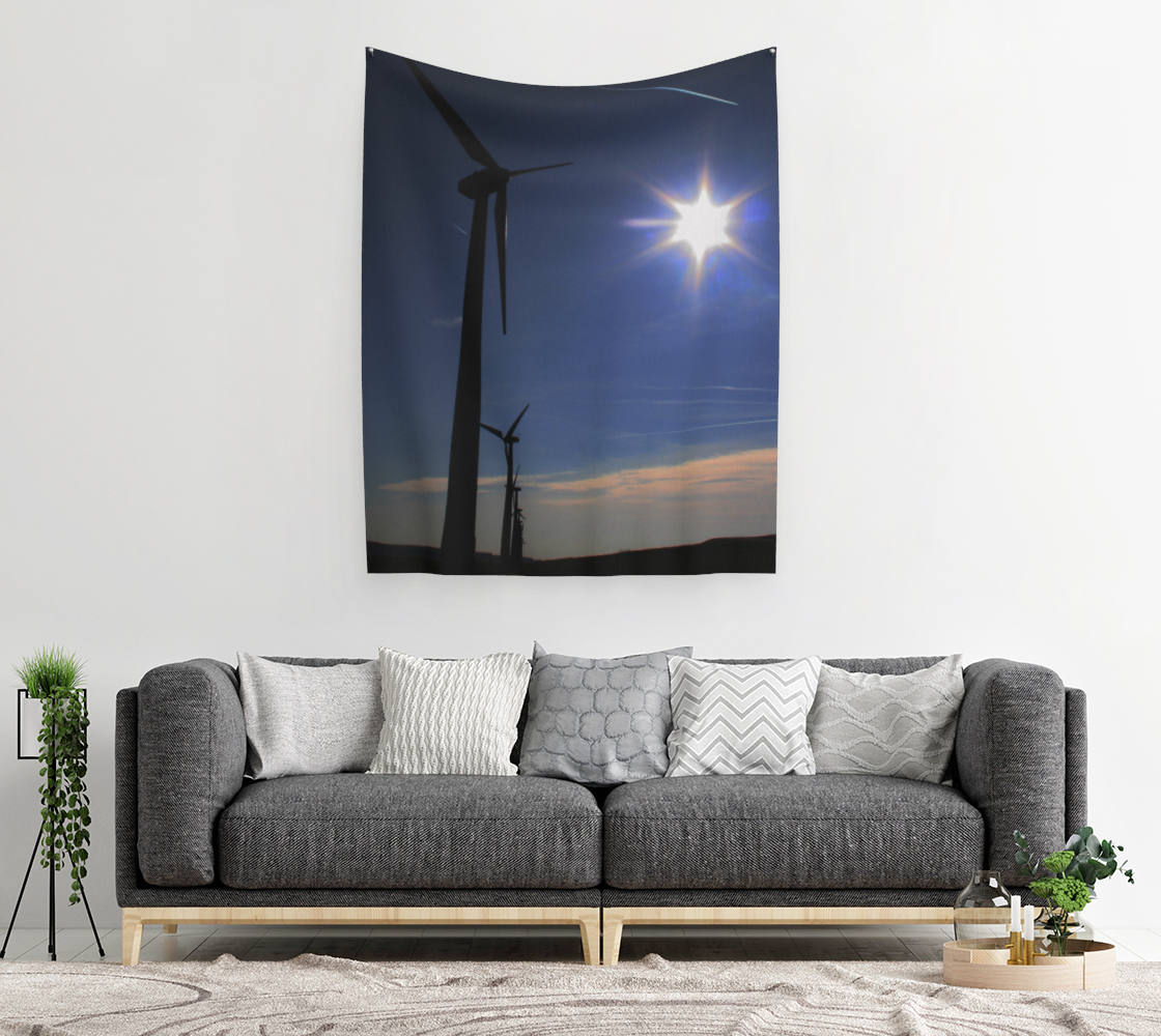 Windfarm and Blue Sky Wall Tapestry preview #2