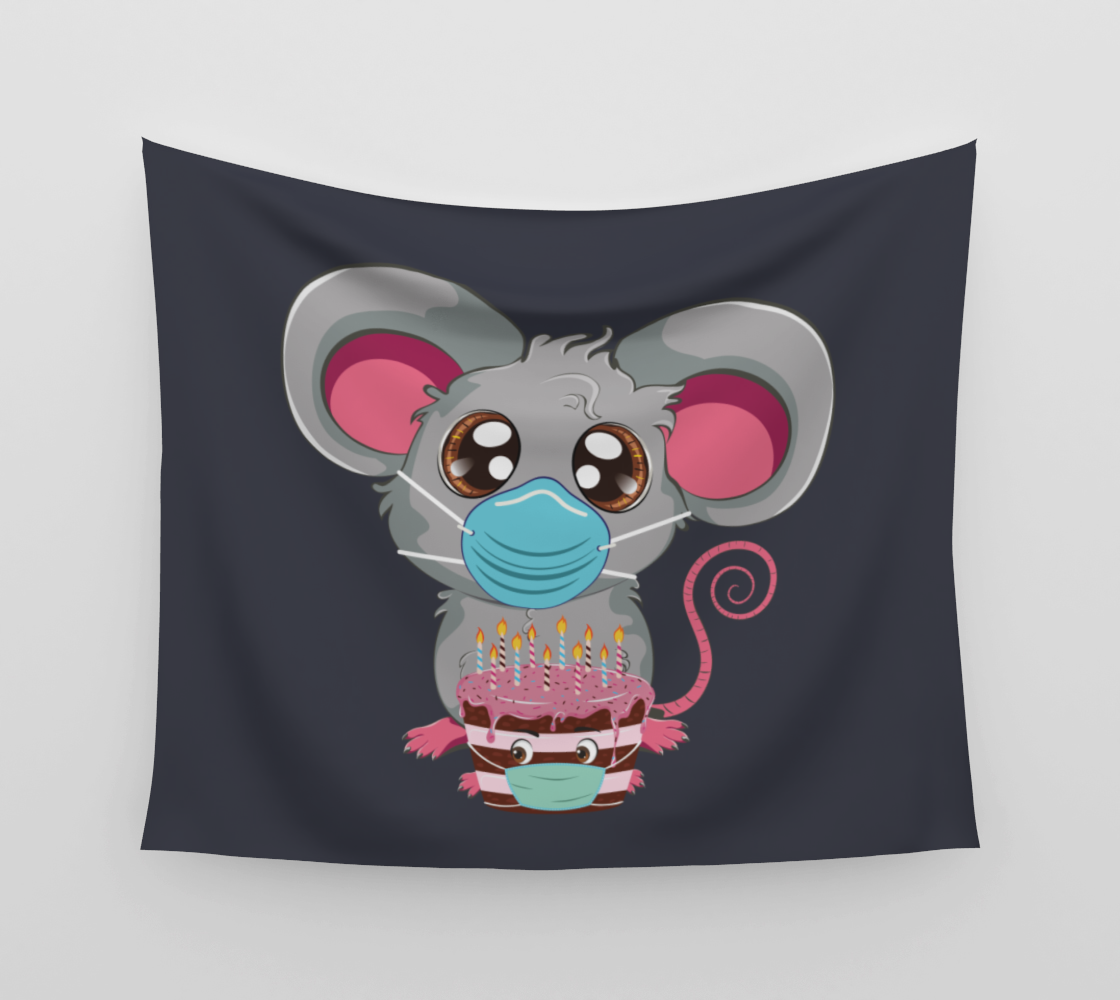 Kawaii mouse in face mask with cake aperçu