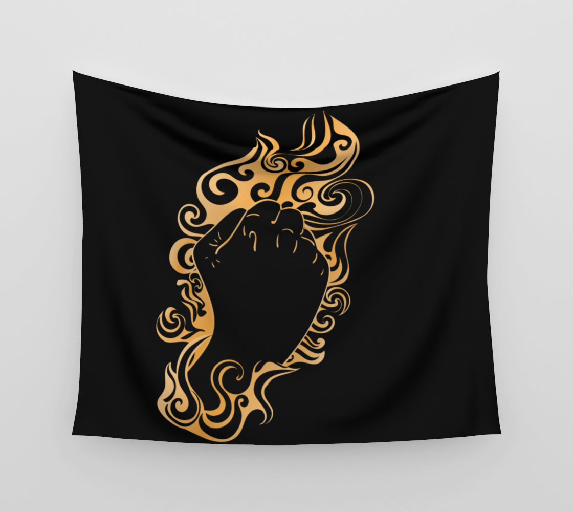 Raised fist in golden fire aperçu