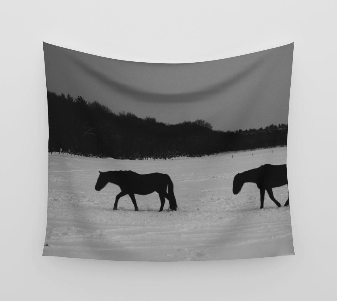 Horses On Snow Wall Tapestry preview