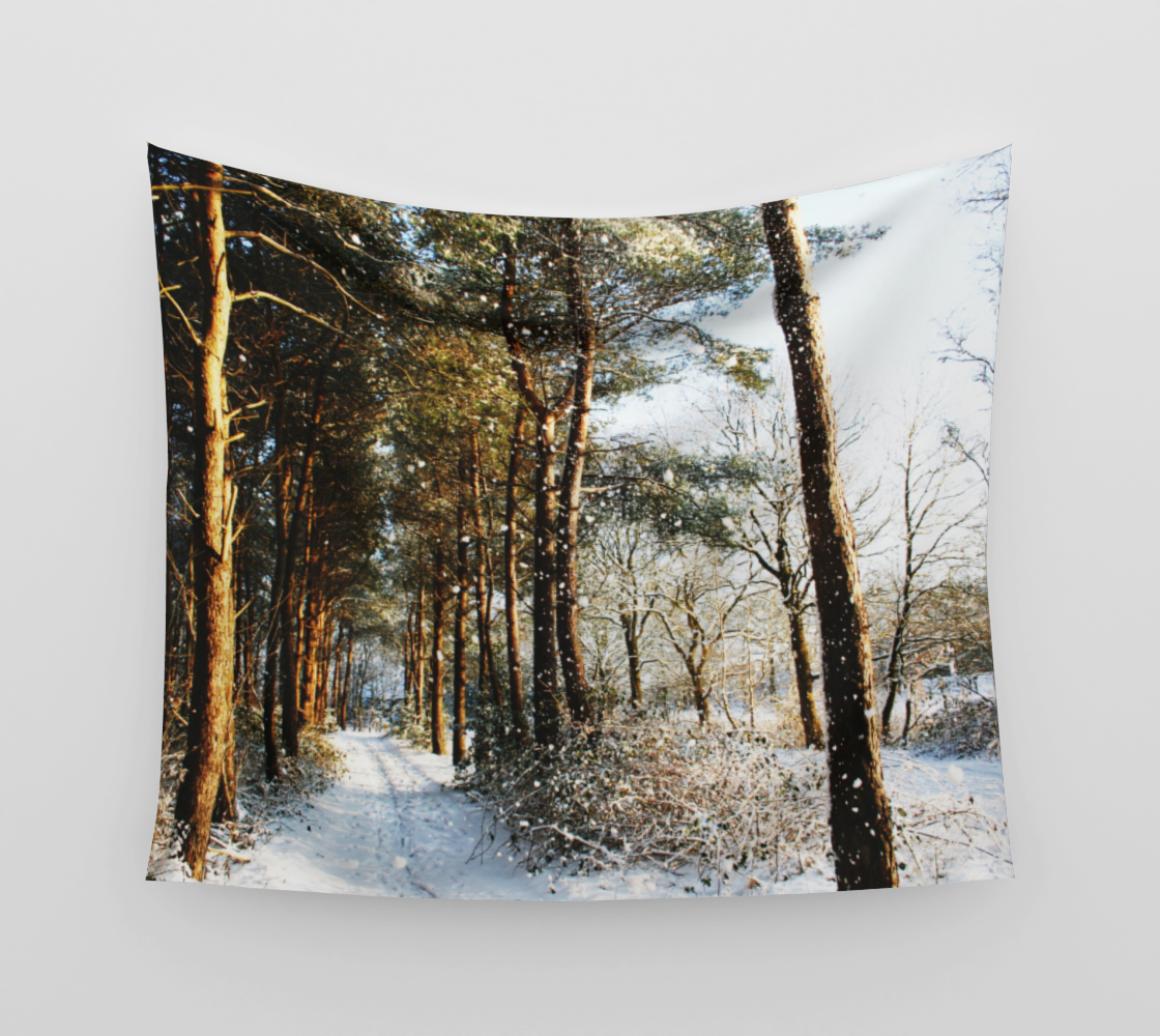 Forest Snow Scene Wall Tapestry preview