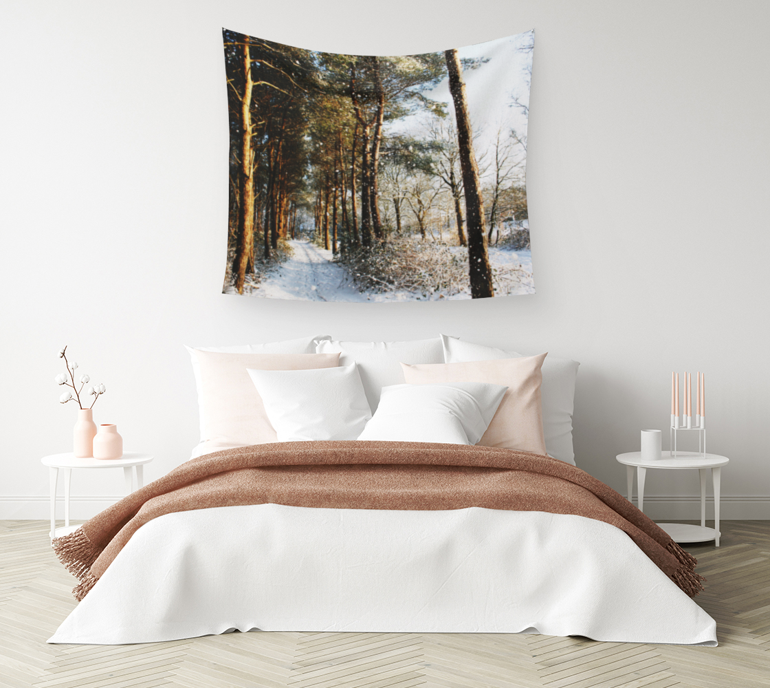 Forest Snow Scene Wall Tapestry preview #1