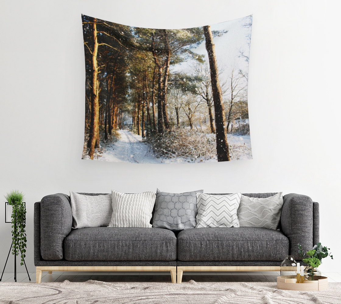 Forest Snow Scene Wall Tapestry preview #2