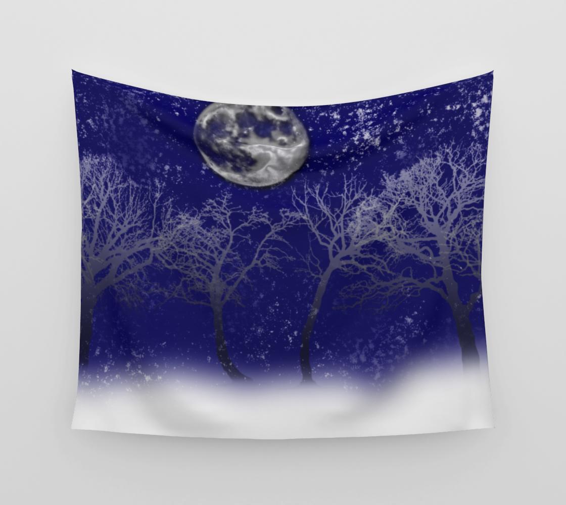 Aperçu de Blue Moon Snow Trees Tapestry