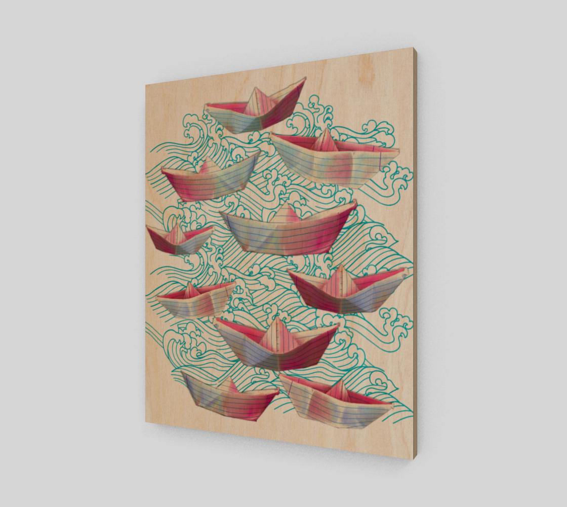 Japanese waves and paper boats Poster preview
