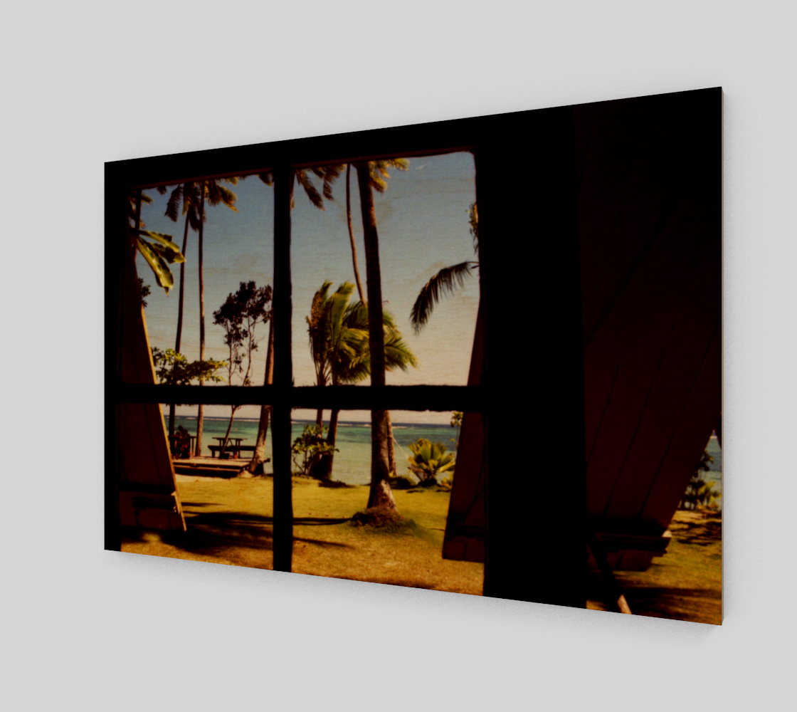Tropical Fiji Beach Scene Wood Print preview