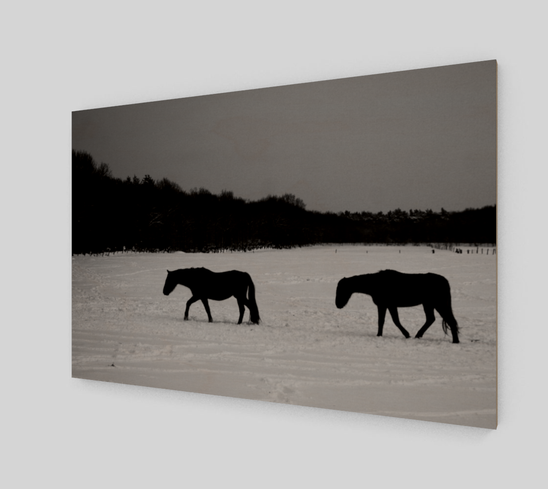 Horses On Snow Wood Print preview #2