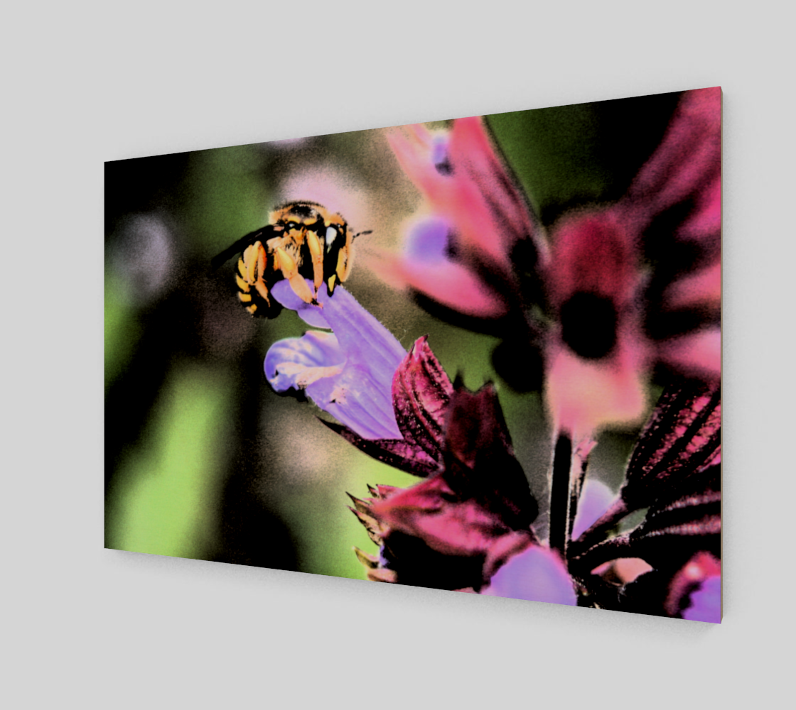Bee and Flower Wood Print Miniature #3