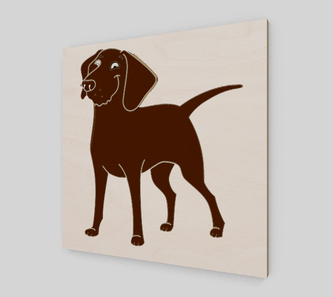 Labrador Retriever chocolate cartoon poster wood print preview #2