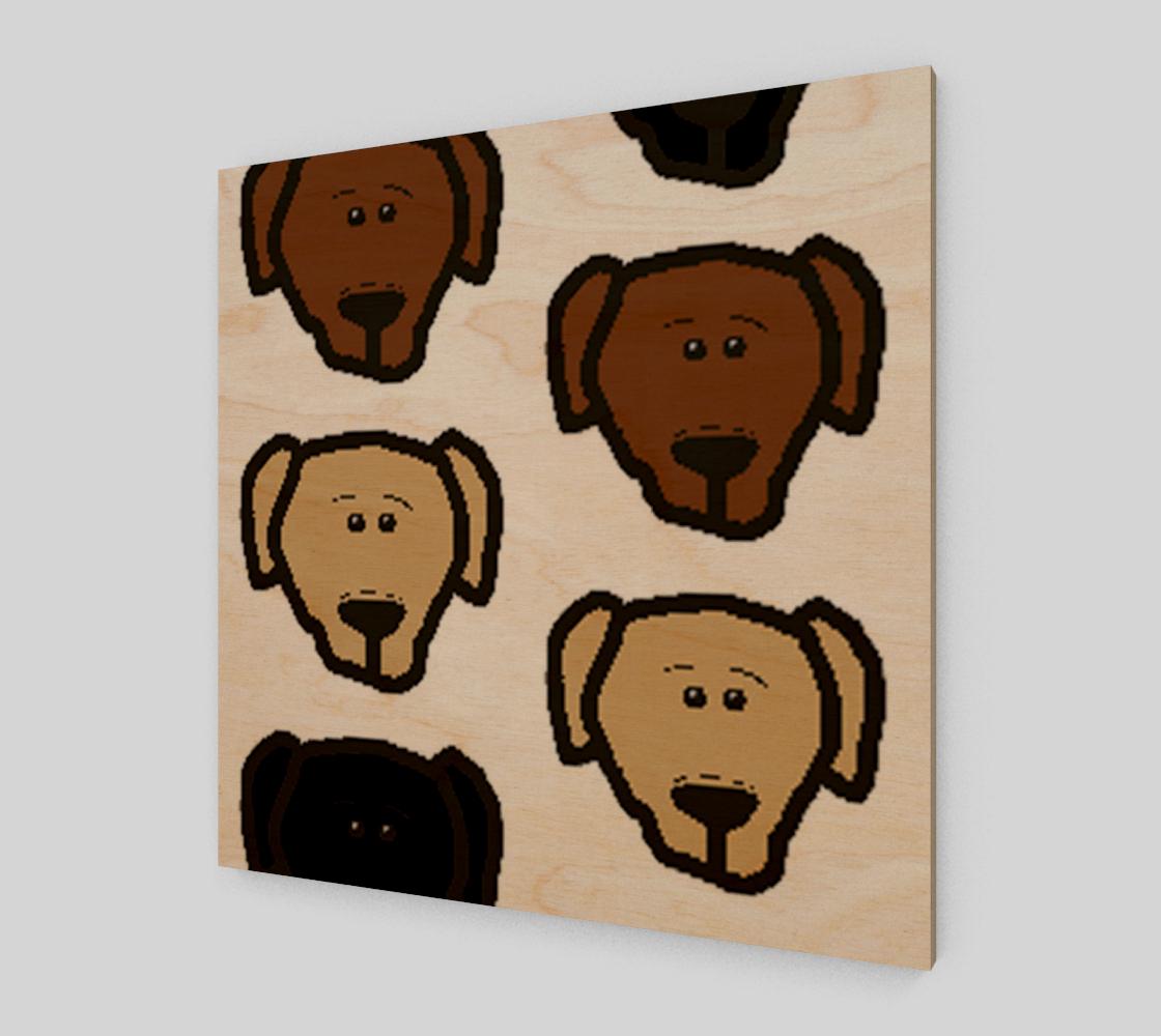 Labrador Retriever all 3 colors cartoon heads poster wood art print preview