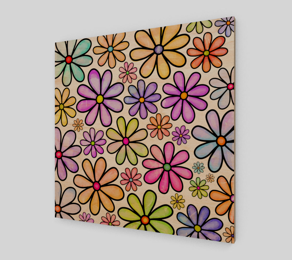 Watercolor Rainbow Doodle Daisy Flower Pattern preview