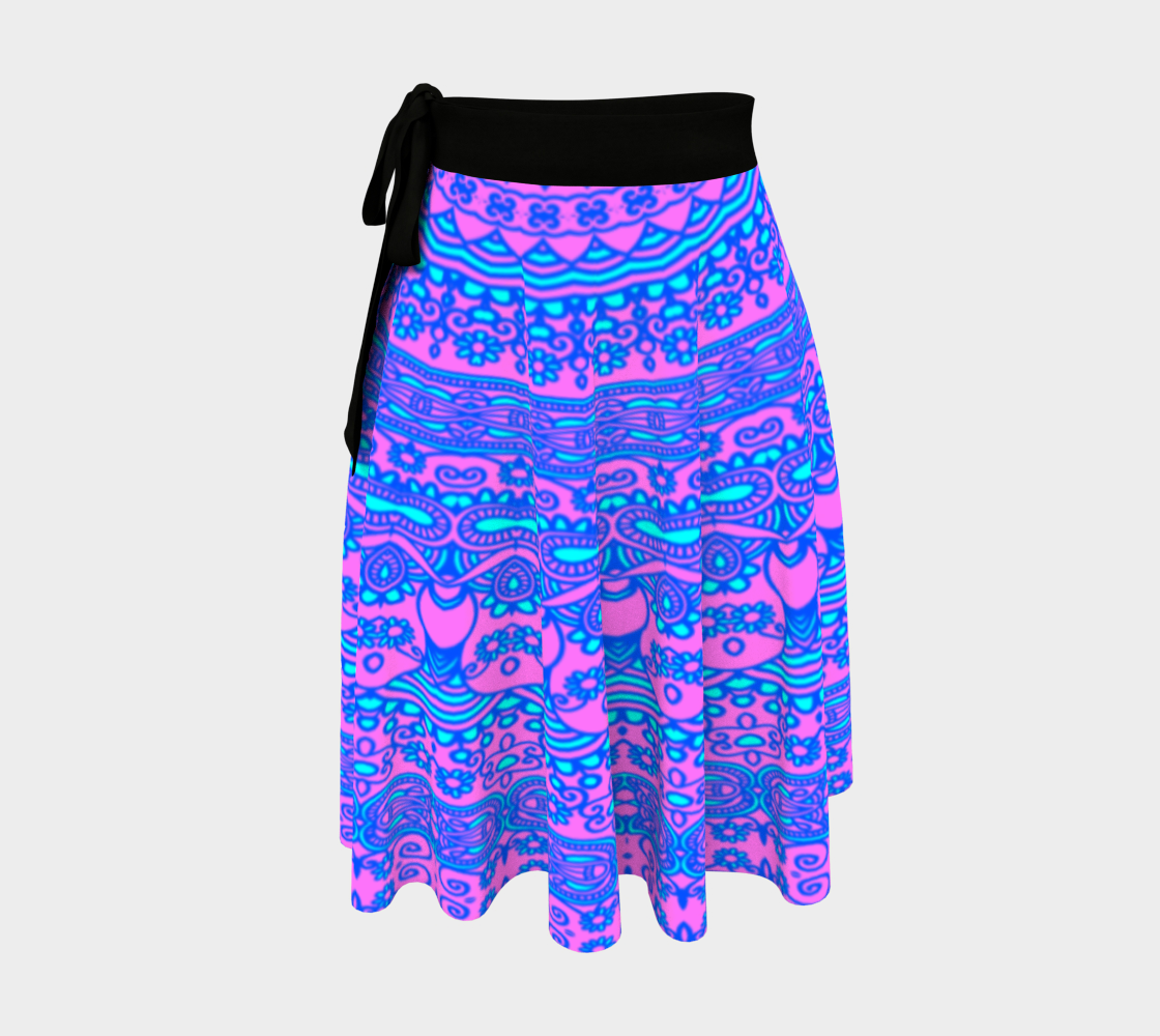 Pink and blue mandala wrap skirt. preview