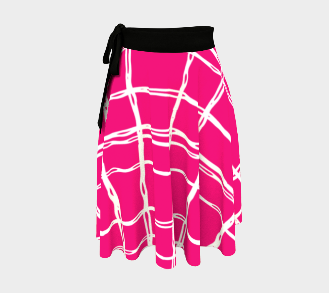 Pink and White Geometric Line Pattern Wrap Skirt preview