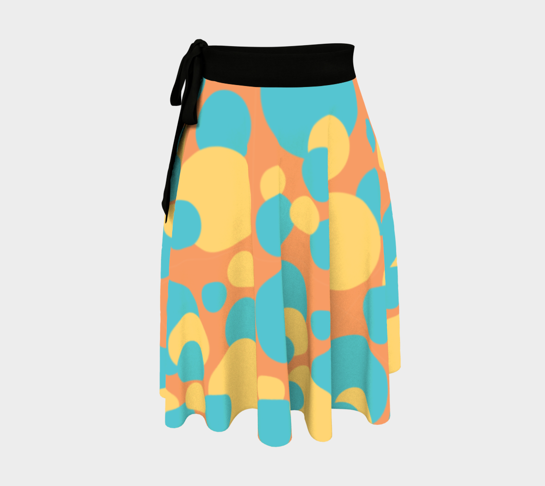 Retro Wrap Skirt in Blue and Yellow Dot Pattern preview