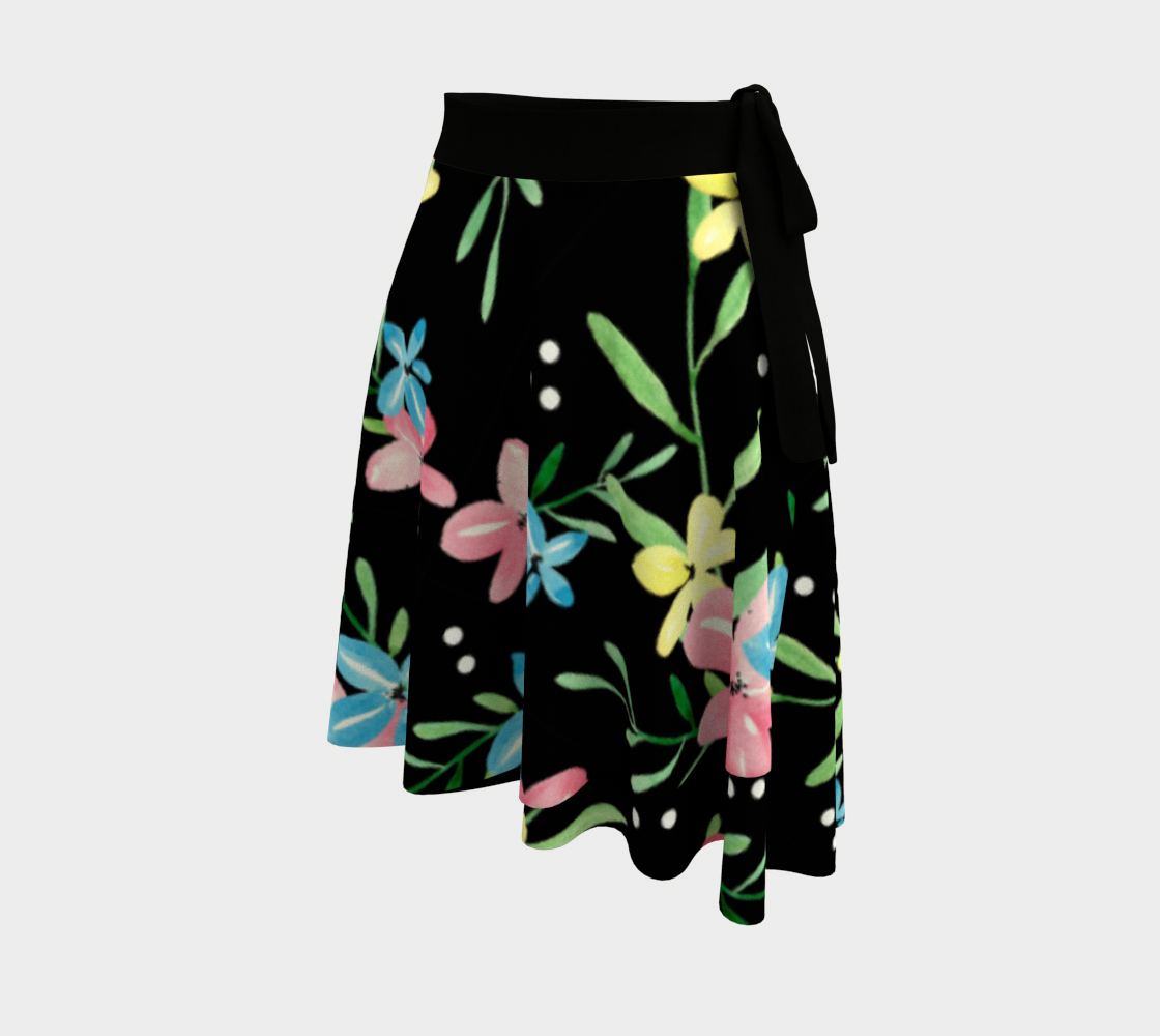Floral Watercolor Wrap Skirt preview #2