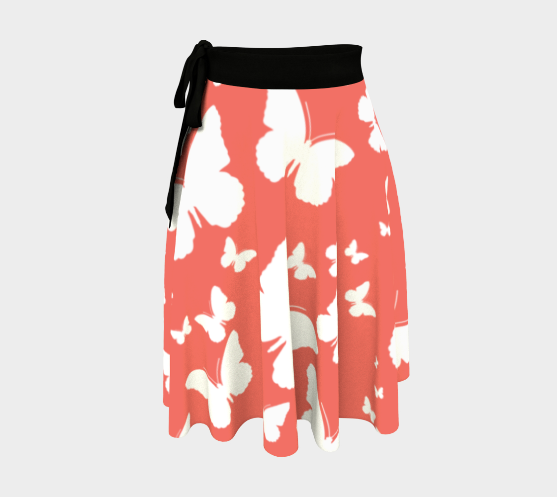 Butterflies in Coral and White Wrap Skirt preview
