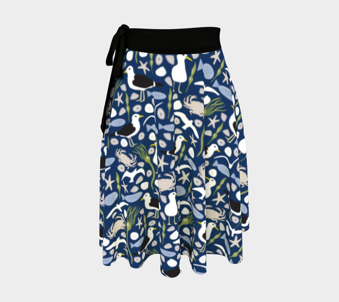 Aperçu de Seaside Escape Scatter Pattern Wrap Skirt 190617