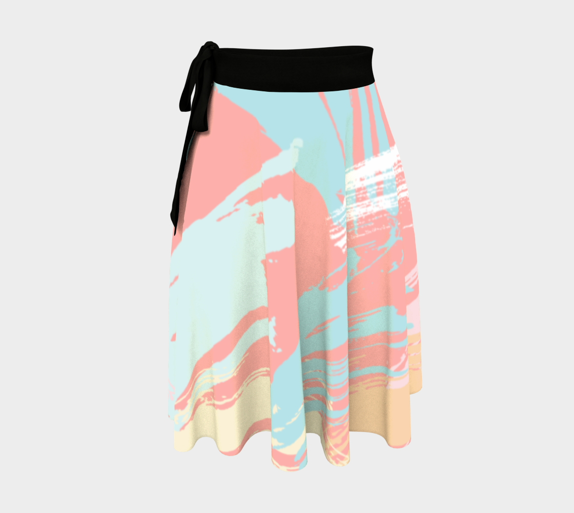 Pastel Abstract Brush Stroke Wrap Skirt preview