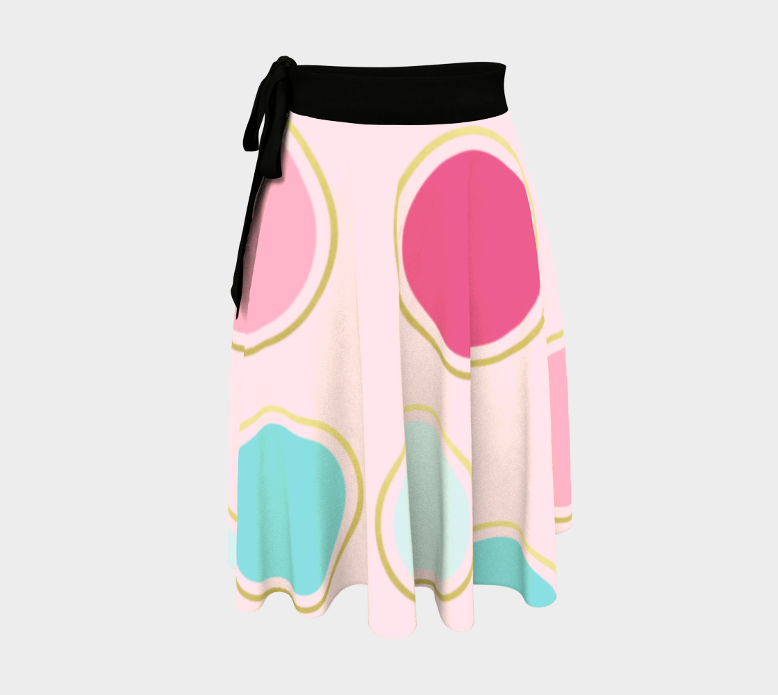 Pink and Teal Polka Dot Wrap Skirt preview