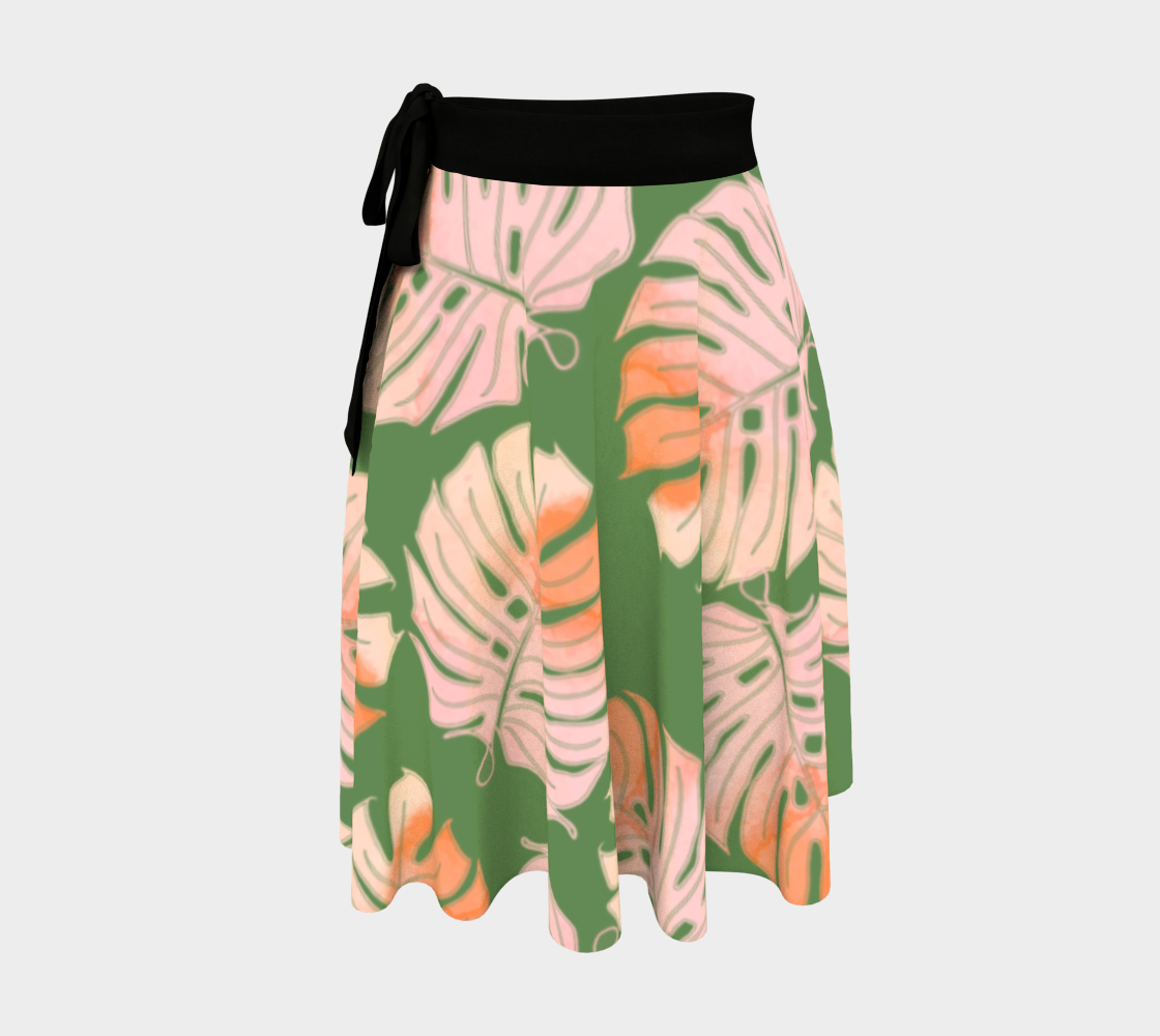 Tropical Leafs in Green and Coral Wrap Skirt preview