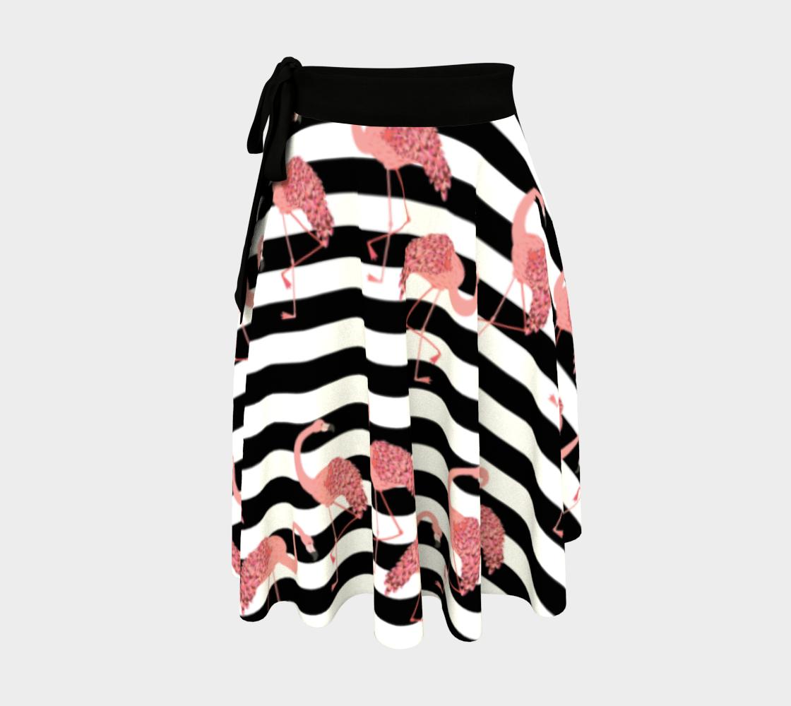 Cute cartoon pink flamingo over black stripes preview