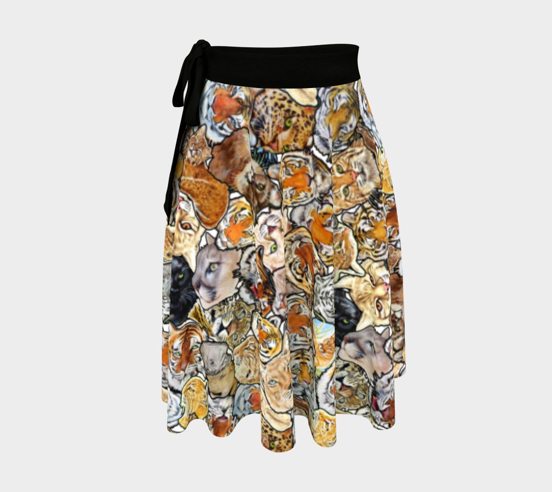 Big Cat Collage - wrap skirt preview
