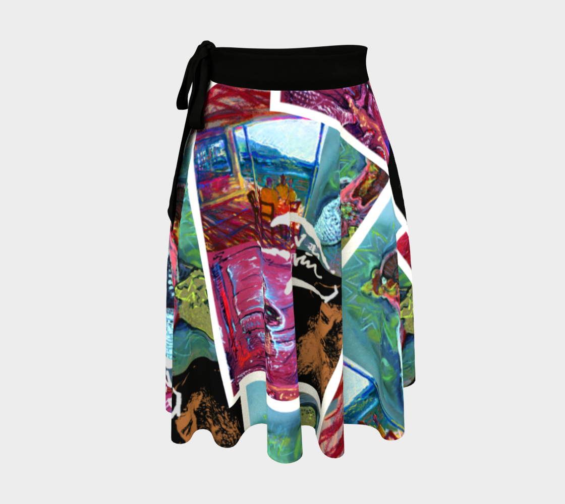 Devin 4-Way Avatar Collage-Print Wrap Skirt preview
