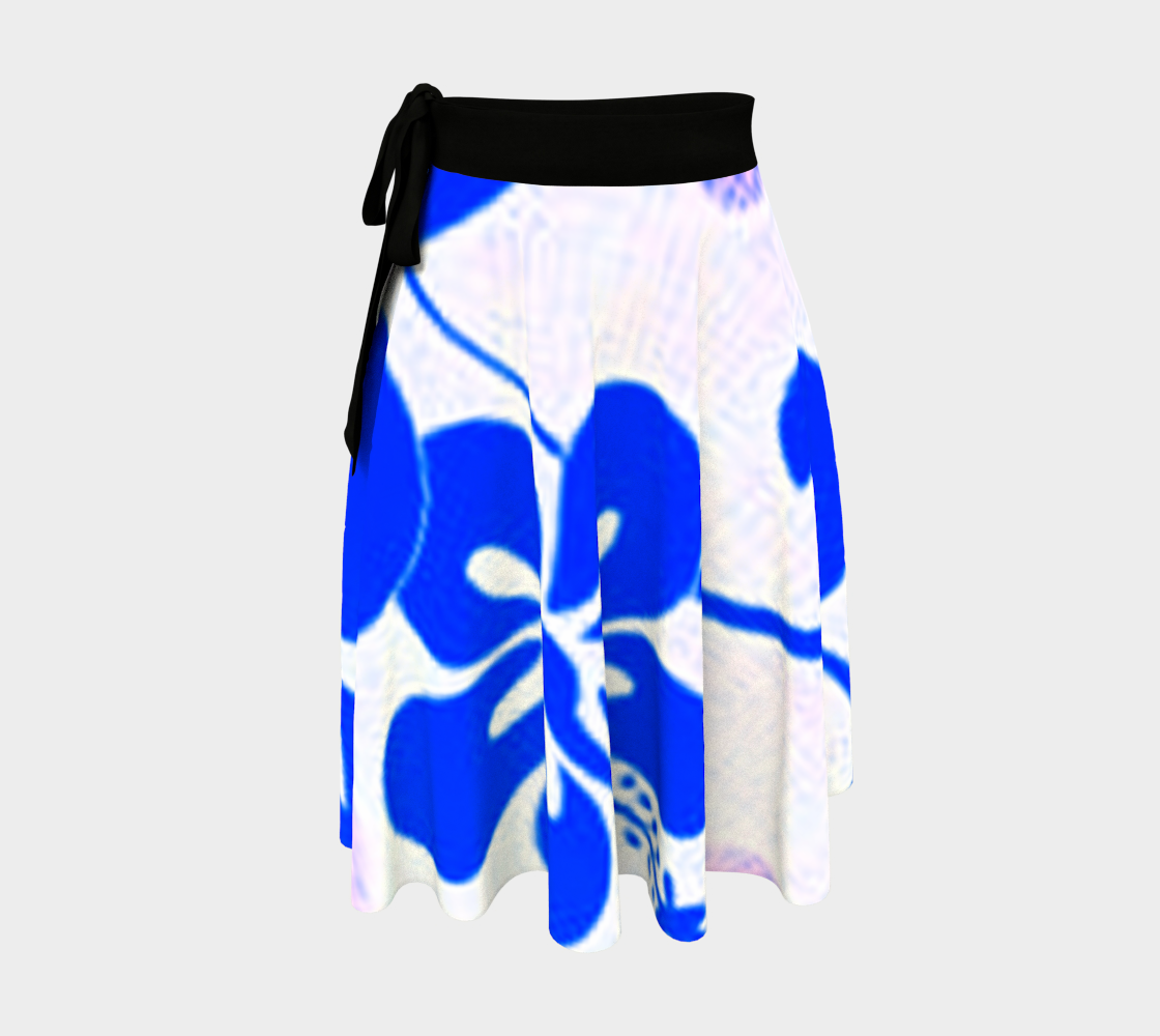 Blue and Lavender Hibiscus Wrap Skirt preview