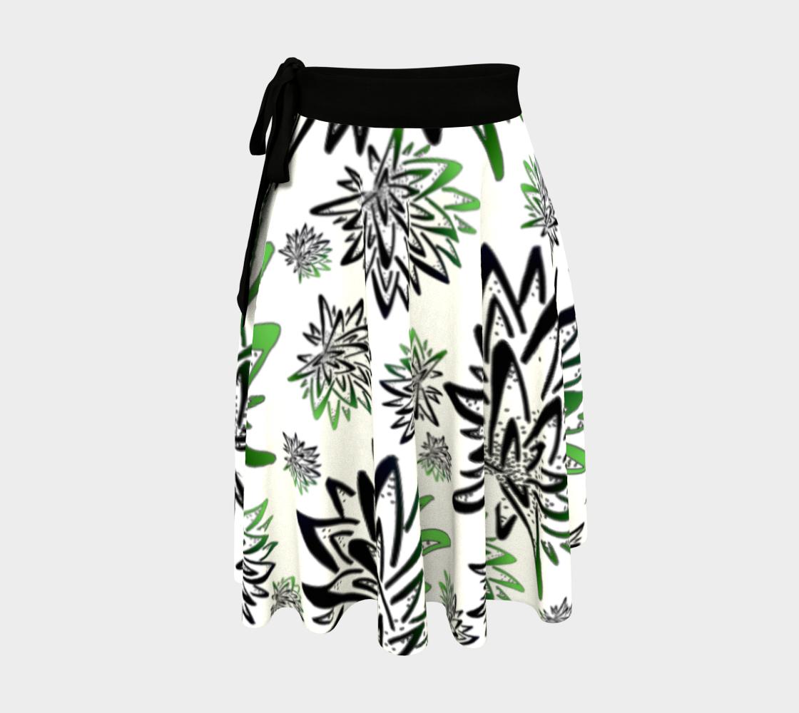 Aperçu de Abstract Green Thistles Pattern Wrap Skirt