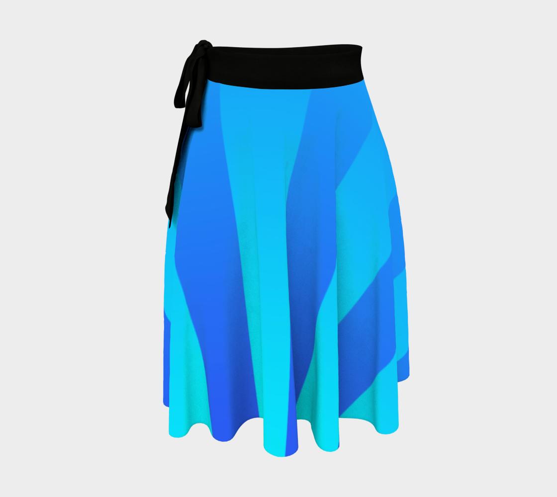 Aperçu de Soft Blue Blend Stripe Wrap Skirt