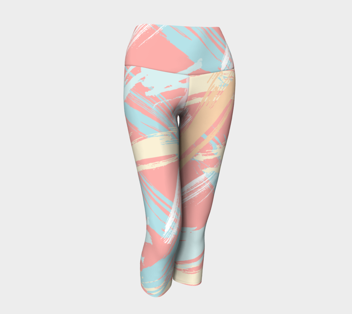 Pastel Abstract Brush Stroke Yoga Capris preview