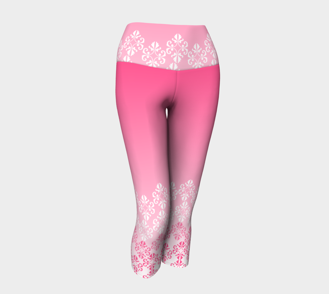 Pink Ombre Damask Pattern Yoga Capris preview