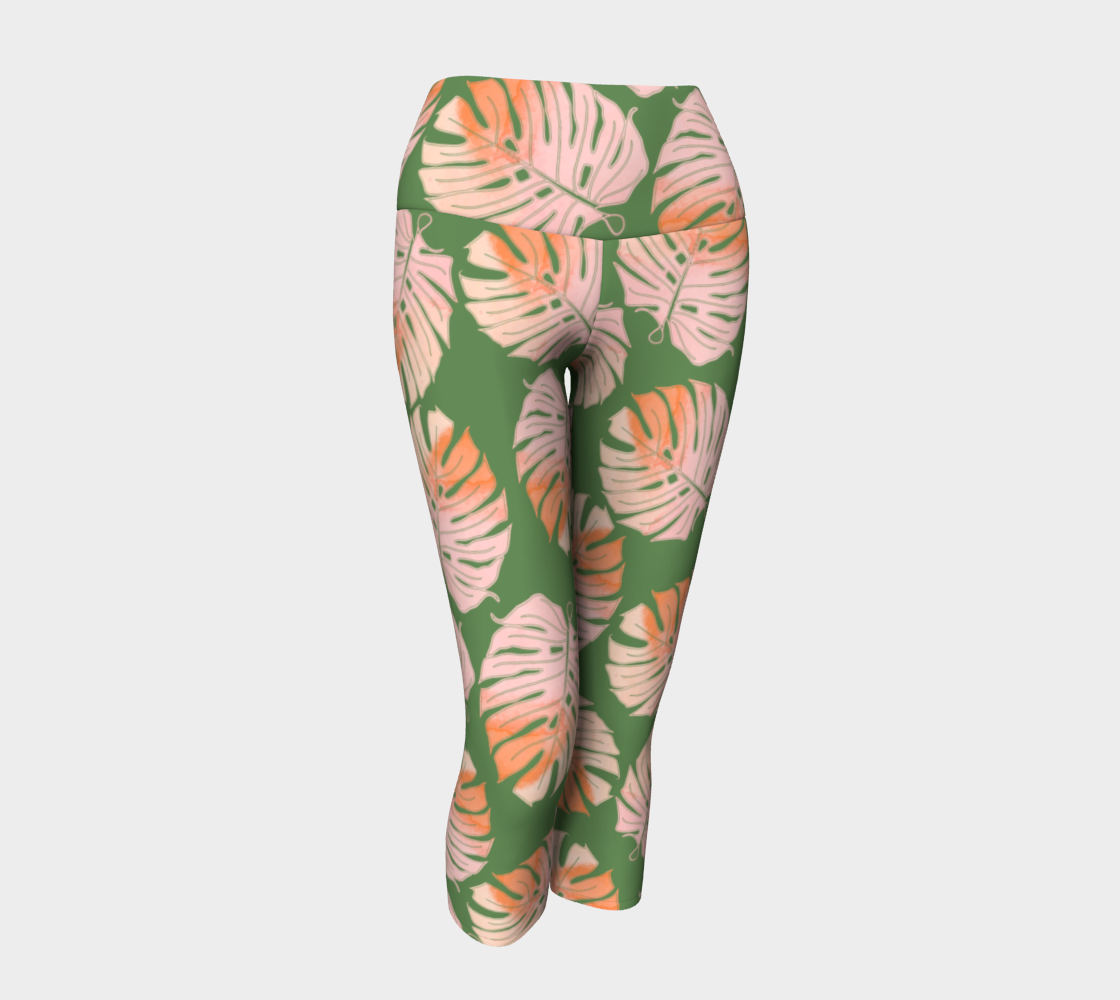 Tropical Leafs in Green and Coral Yoga Capis preview