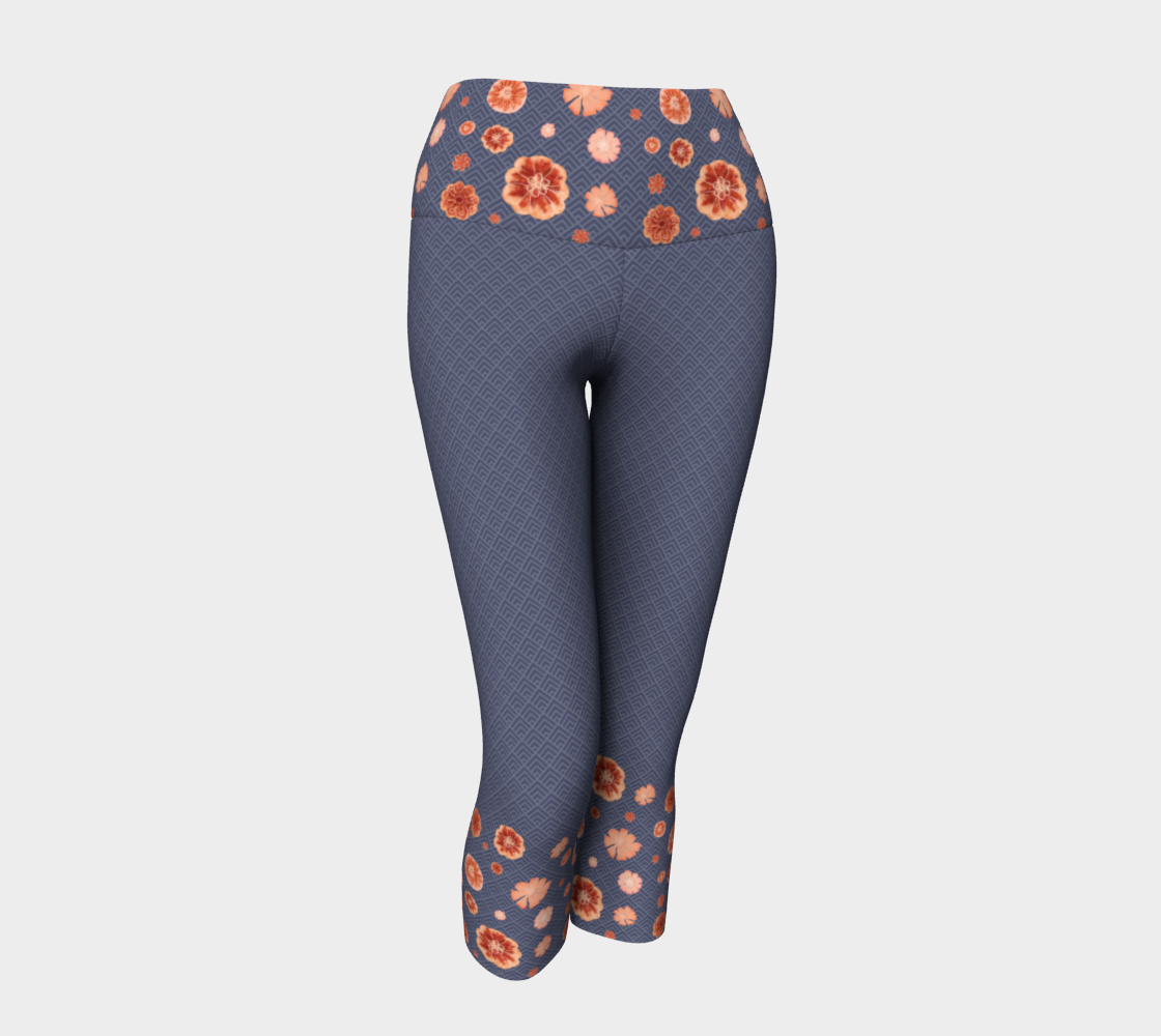 Stormy gray and red orange floral pattern yoga pants preview