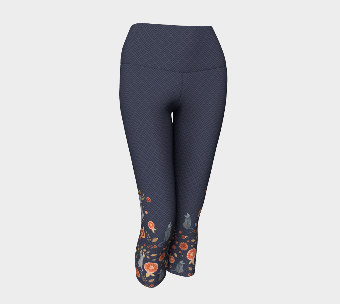 Charcoal Gray Capris with Colorful Floral and Cats pattern preview
