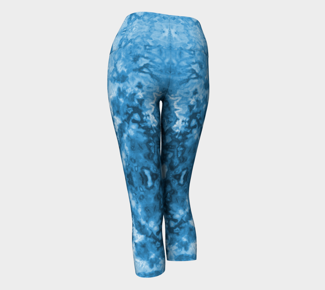 Blue Abstract Yoga Capri preview #3