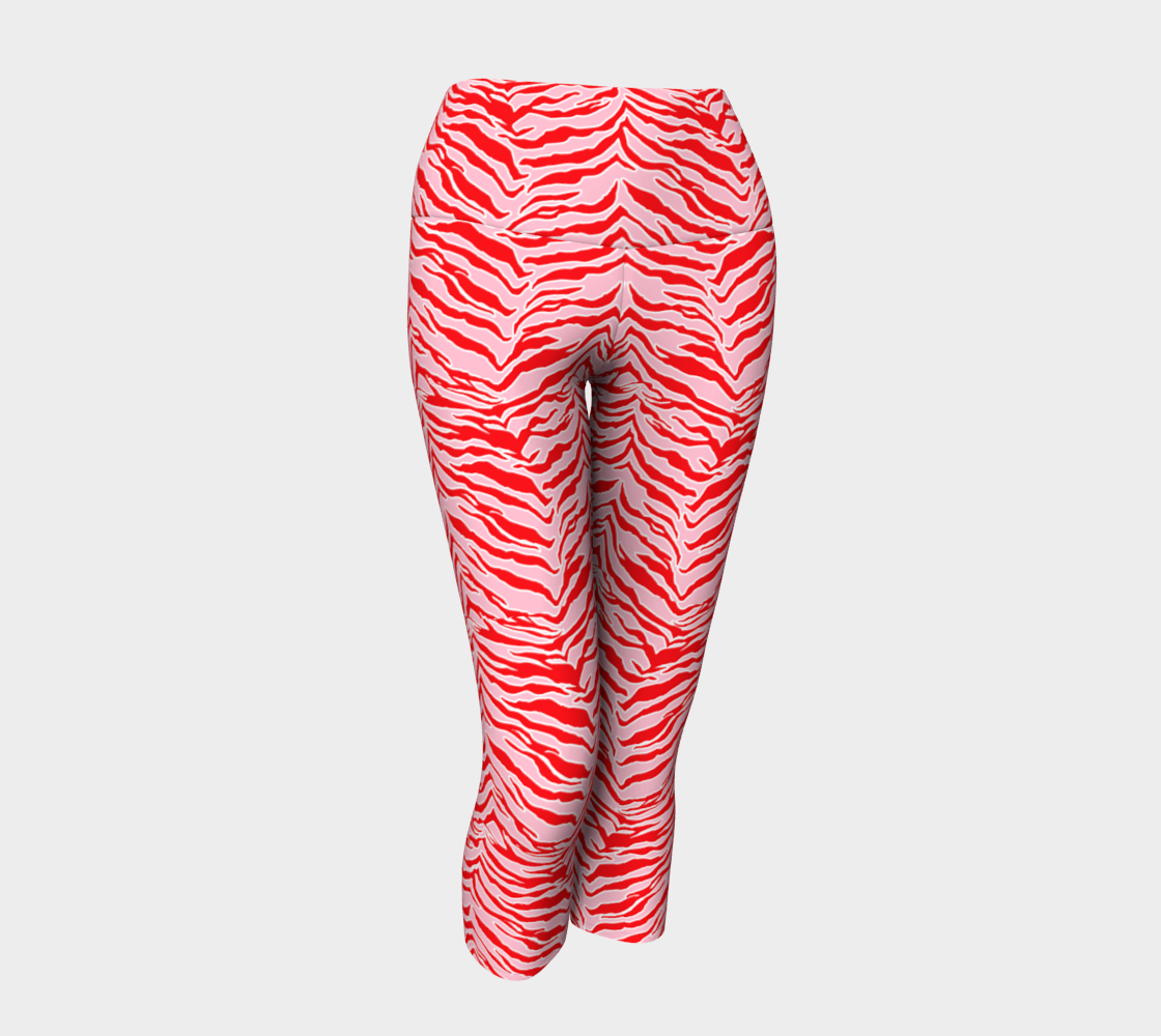 Tiger Print - Red and Pink Yoga Capris preview