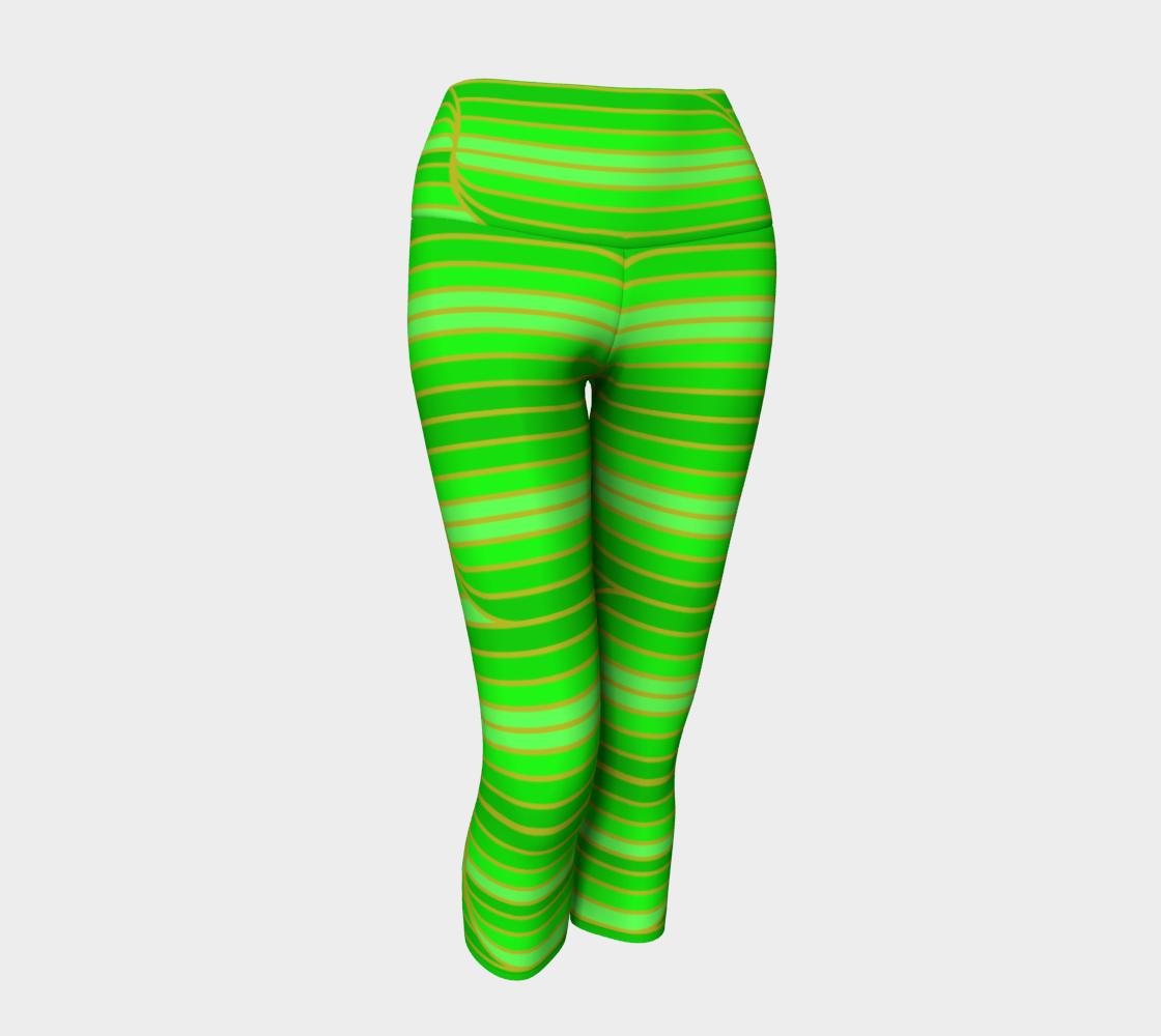 Geo Stripes - Green Yoga Capris preview