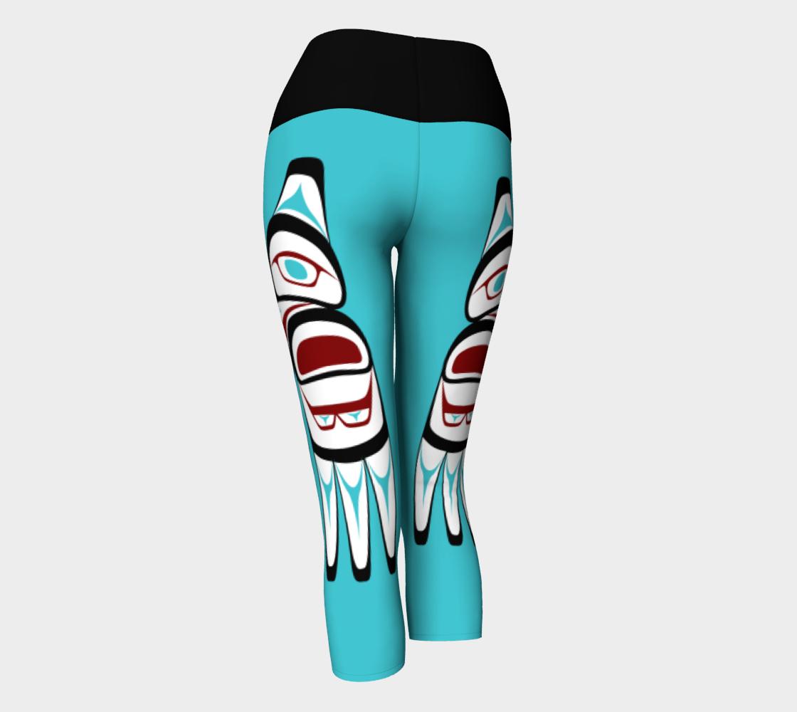 Formline Owl Pacific Northwest Native American Design Capri Yoga Leggings preview #3