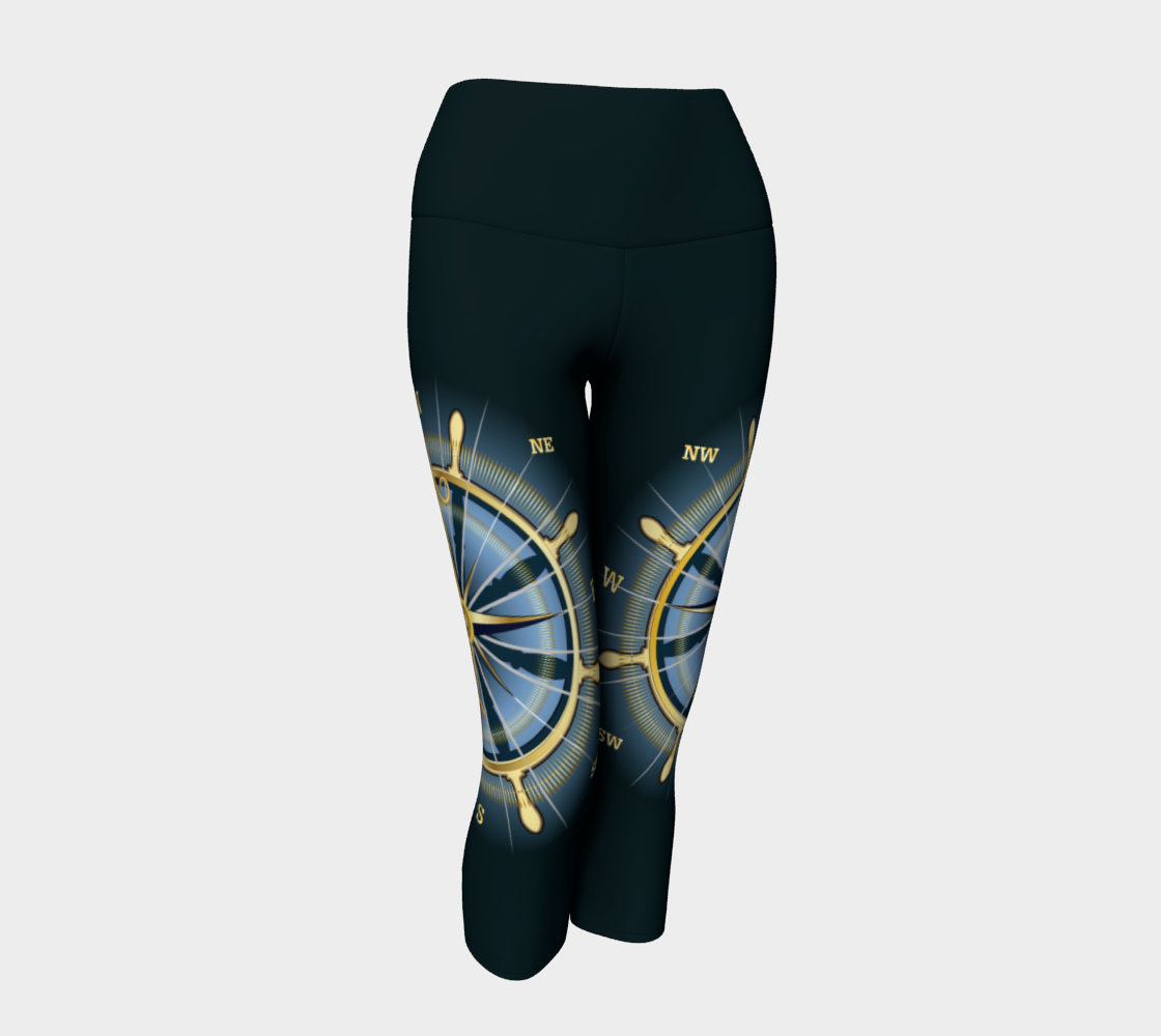 Dark Waist Band Compass Rose Capri Leggings Solid Background preview
