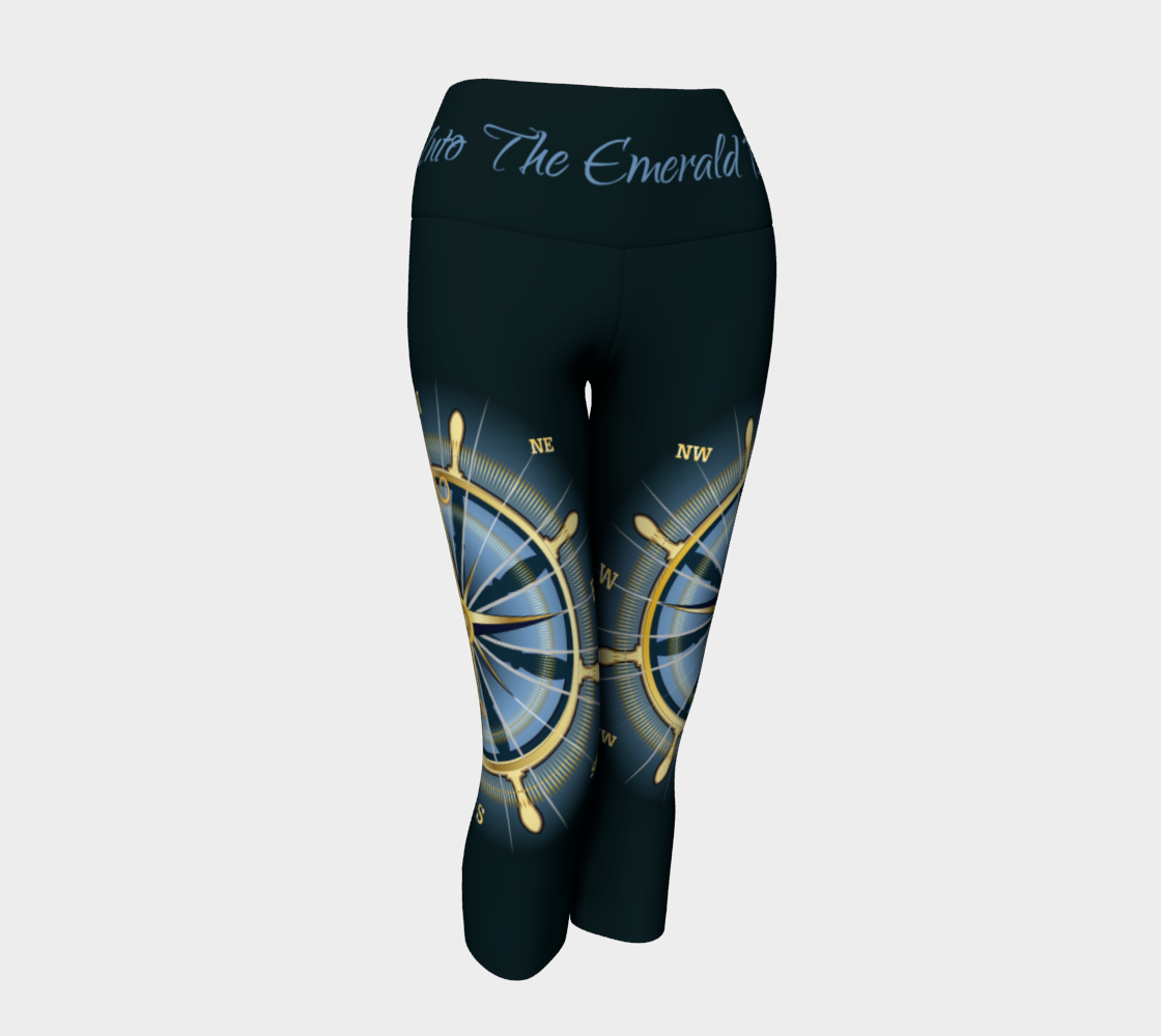 Dark Waist Band Into The Emerald Blue Compass Rose Capri Leggings Solid Background 2 preview