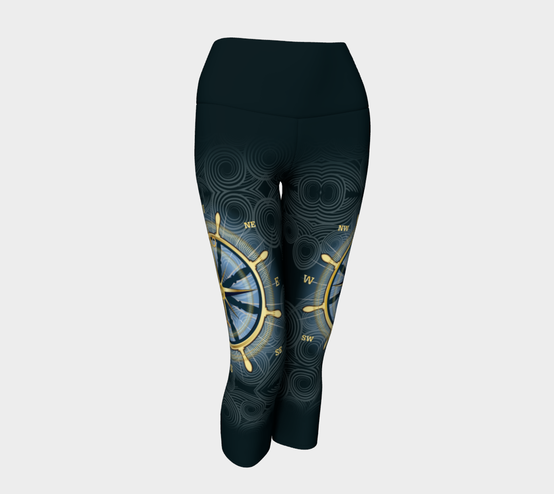 Swirly Compass Rose Yoga Capris With Dark Band preview