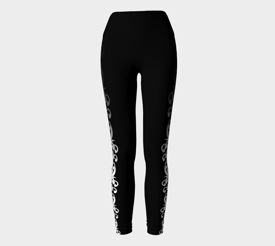 Back and White - Wild Vines Yoga Leggings preview