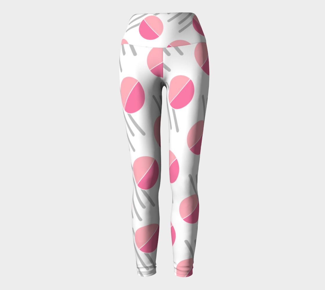 Modern Pink Circle Grey Line Abstract Yoga Leggings preview
