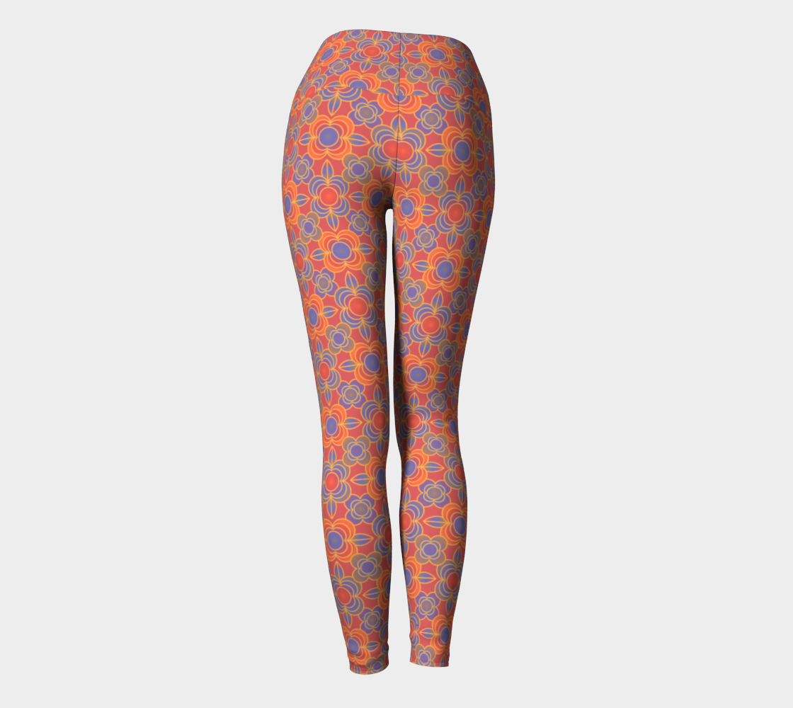Aperçu de Flower power orange yoga leggings #4