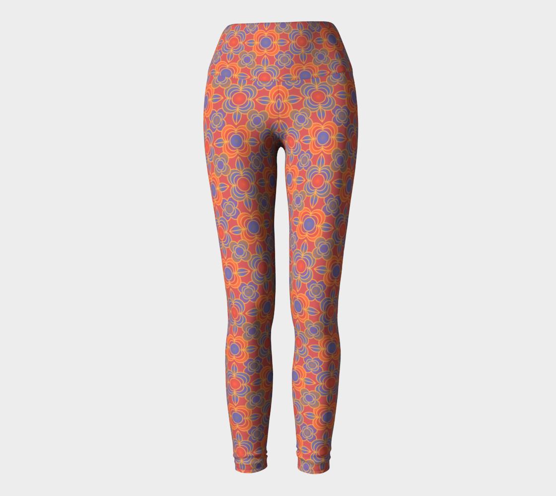 Flower power orange yoga leggings preview